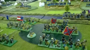 The gallant Pender storms forward on the right whilst the Rebel centre is left 'confused'