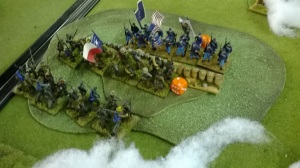 The Viginians run back to their gun line whilst their brothers in arms enfilade the blue-bellies!