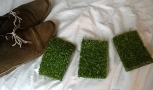 Then a trip to the Garden Centre to liberate some artificial grass! Desert boots are size ten for scale.